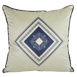 Almofada Arabesco Azul Marinho 50 x 50 Com Enchimento-Veludo