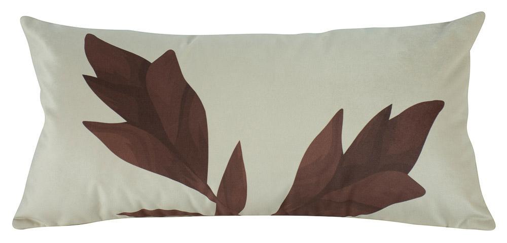 Almofada Floral Marrom-60 x 30-Com Enchimento-Veludo