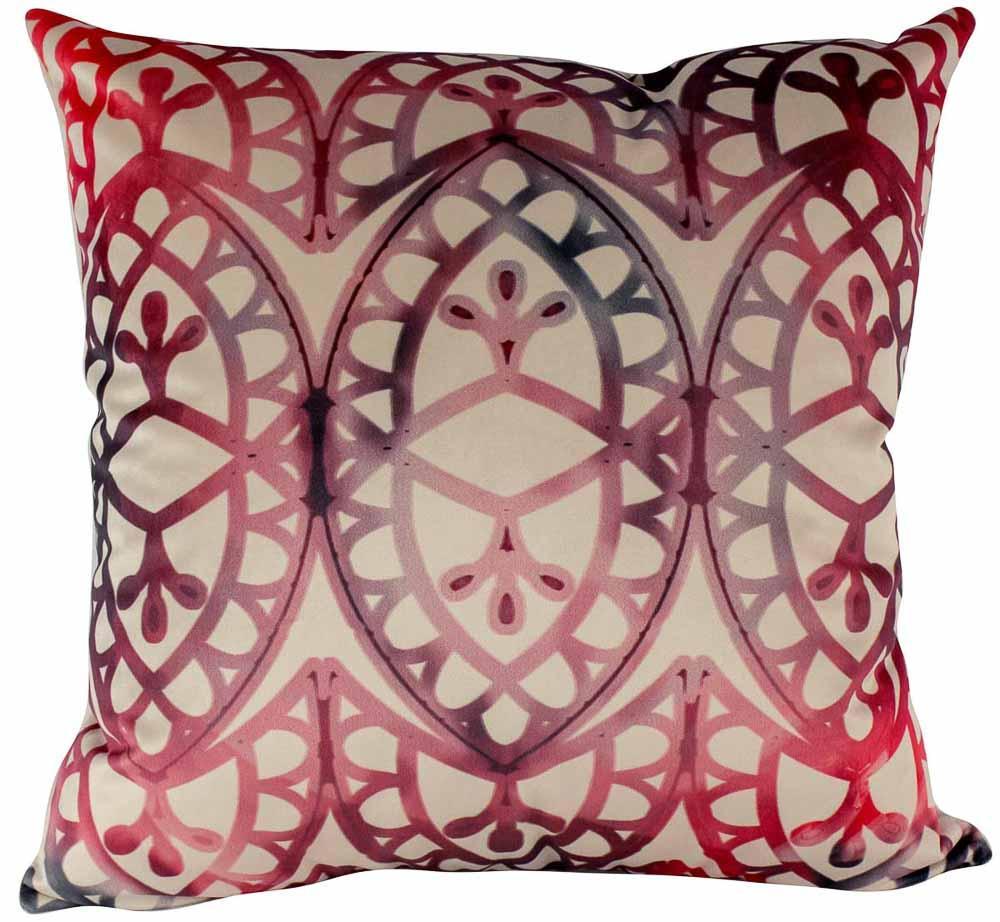 Almofada Arabesco Vermelho-50 x 50-Com Enchimento-Veludo