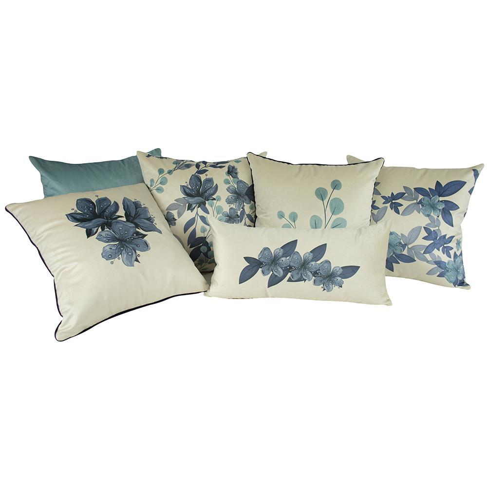 Jogo de Almofadas Floral Azul Serenity 50 x 50 Com Enchimento Veludo