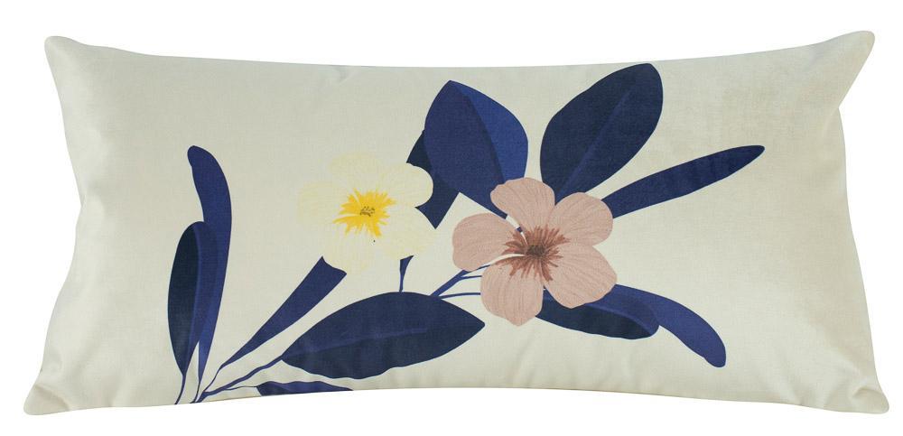 Almofada Floral Azul 60 x 30 Com Enchimento Veludo