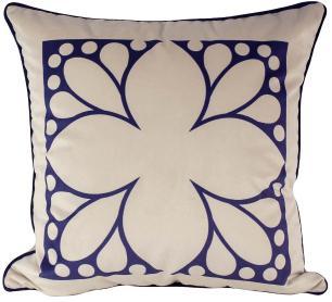 Almofada Arabesco Azul-50 x 50-Sem Enchimento-Poliester com Algodao