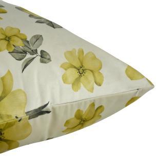 Almofada Decorativa Floral Mostarda 50 x 50 Com Enchimento Veludo