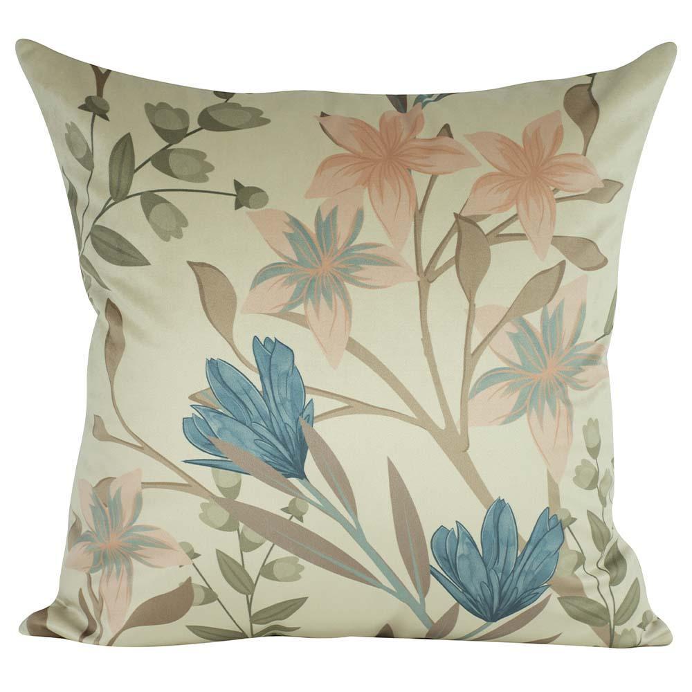 Almofada Floral Azul Turquesa 50 x 50 Com Enchimento Veludo