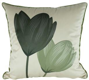 Almofada Floral Verde 45 x 45 Com Enchimento-Veludo