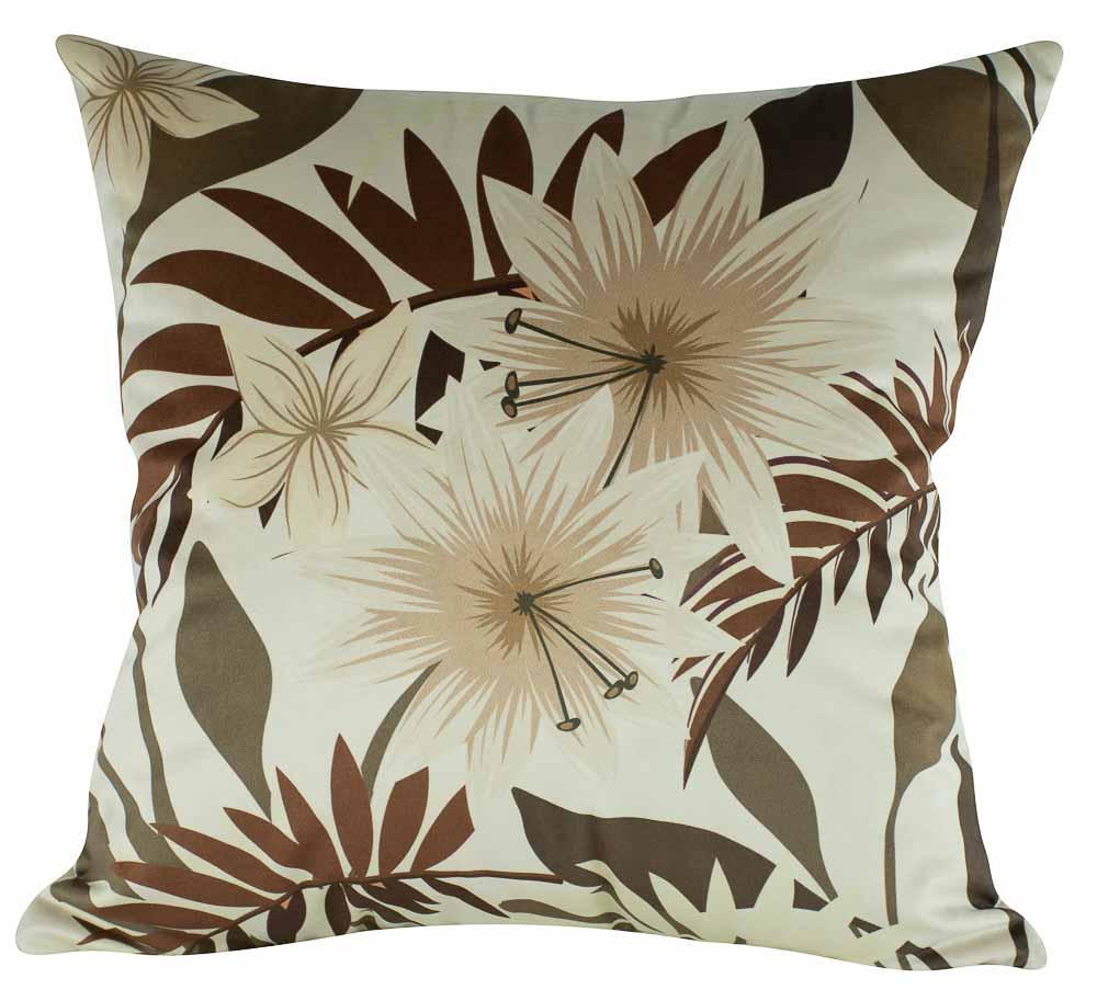 Almofada Floral Bege-45 x 45-Com Enchimento-Veludo