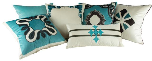 Jogo de Almofadas Arabesco Azul Tiffany Veludo