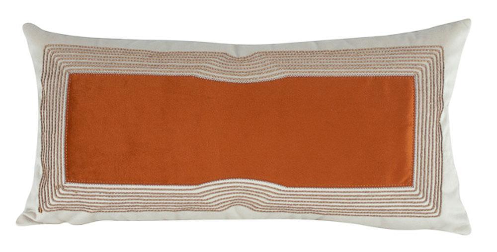 Almofada Bordada Com Aplique Terracota-60 x 30-Com Enchimento-Veludo