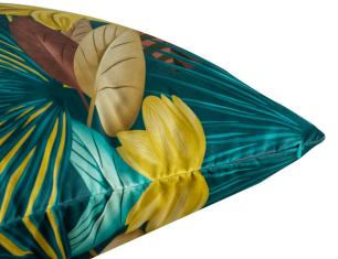 Almofada Floral Mostarda 45 x 45 Com Enchimento Veludo