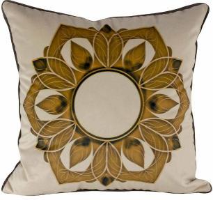 Almofada Arabesco Dourado-45 x 45-Sem Enchimento-Veludo