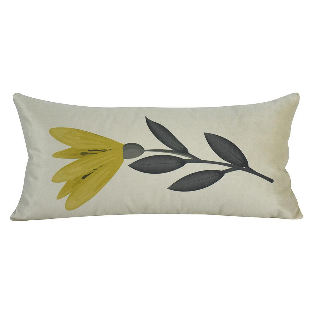 Almofada Decorativa Floral Mostarda 60 x 30 Com Enchimento Veludo