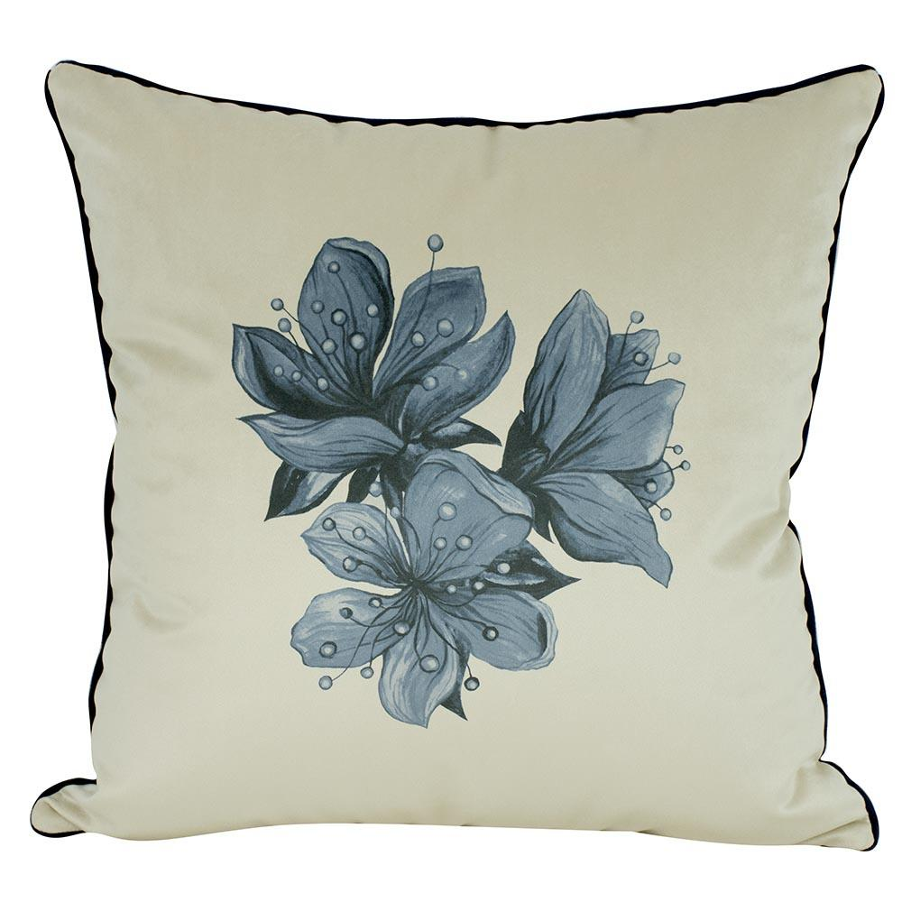 Almofada Floral Azul Serenity 50 x 50 Com Enchimento Veludo