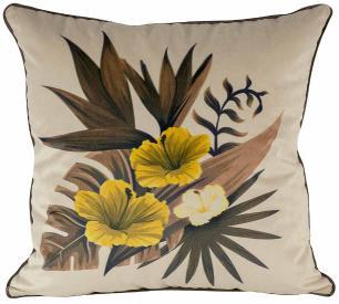 Jogo de Almofadas Floral Hibiscus -45 x 45-Com Enchimento-Veludo