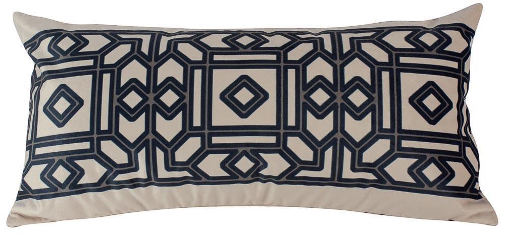 Almofada Arabesco Preto-60 x 30-Com Enchimento-Veludo