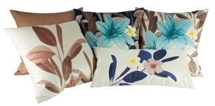 Jogo de Almofadas Floral Marrom 45 x 45 Com Enchimento Veludo