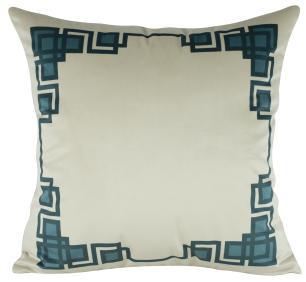 Almofada Geométrica Azul Tiffany 50 x 50 Com Enchimento Veludo