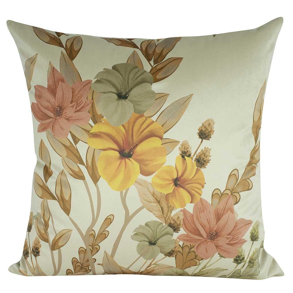 Almofada Floral Amarela Com Enchimento 45 x 45 Veludo