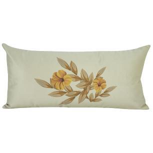 Jogo de Almofadas Floral Amarela 50 x 50 Com Enchimento Veludo