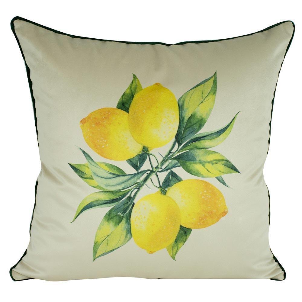 Almofada Limão Amarelo 45 x 45 Com Enchimento Veludo