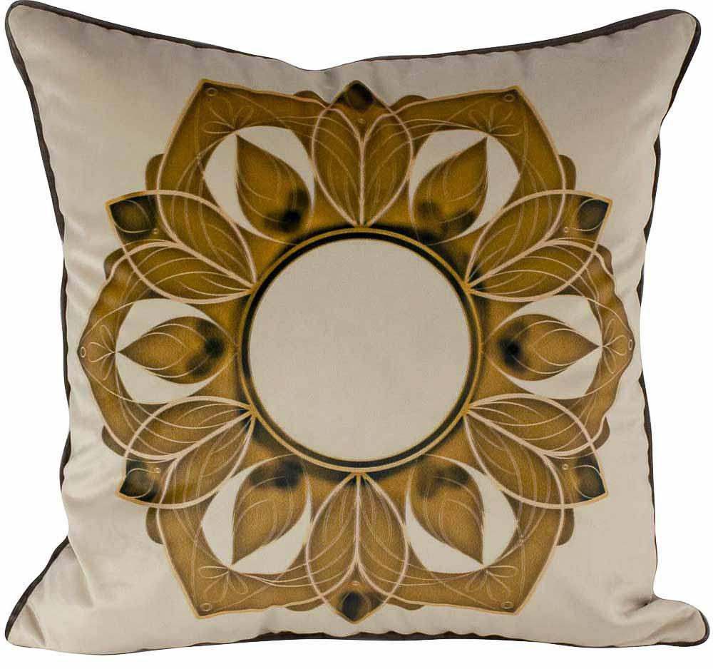 Almofada Arabesco Dourado-50 x 50-Sem Enchimento-Poliester com Algodao