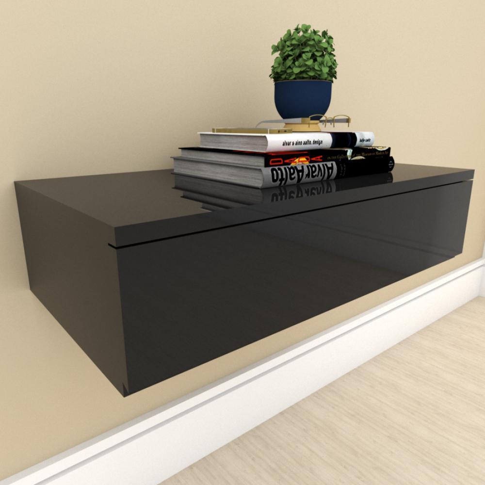 Mesa de cabeceira suspensa moderno preto