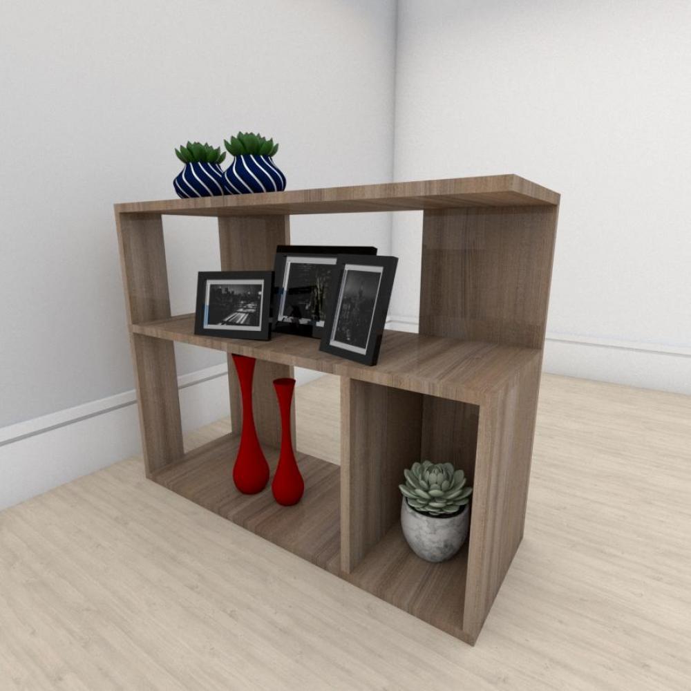 Estante para livros formato minimalista em mdf Amadeirado