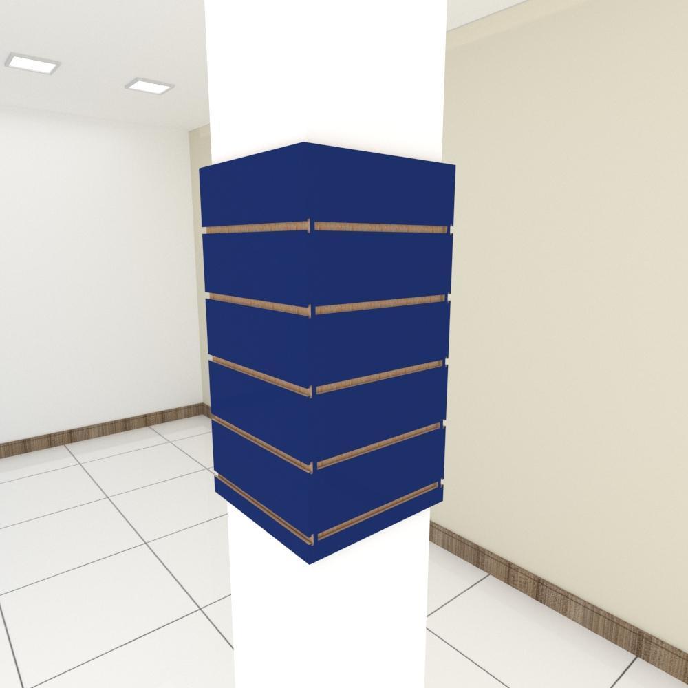 Kit 4 Painel canaletado para pilar azul escuro 2 peças 34(L)x60(A)cm + 2 peças 30(L)x60(A)cm