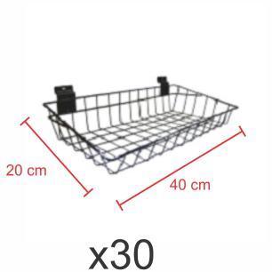 Pacote com 30 Cestos para painel canaletado 20x40 cm preto