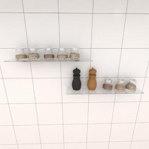 Kit com duas Prateleira para cozinha 50 cm vidro temperado