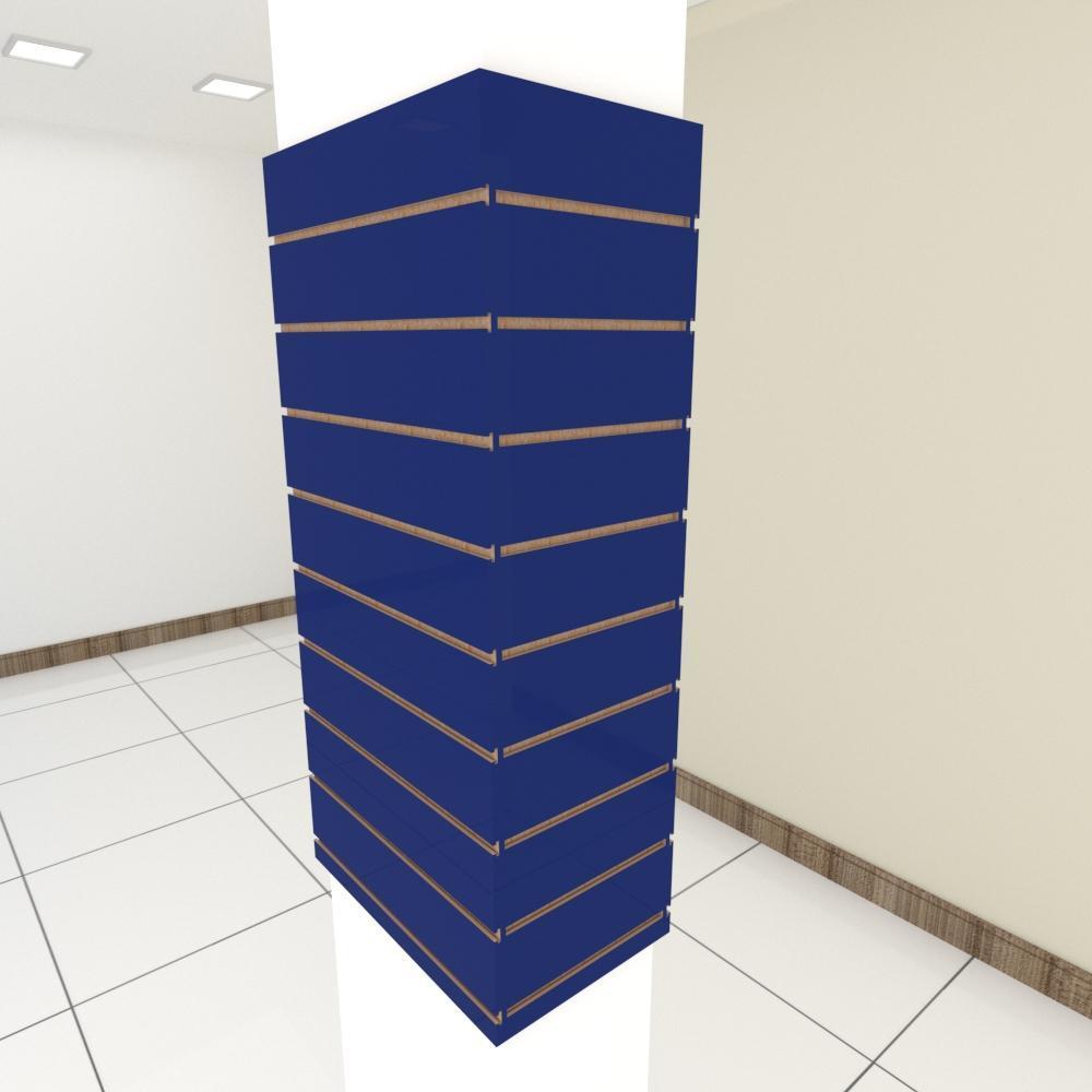 Kit 4 Painel canaletado para pilar azul escuro 2 peças 54(L)x120(A)cm + 2 peças 30(L)x120(A)cm