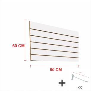 Expositor canaletado branco alt 60 cm comp 90 cm mais 30 ganchos 10 cm