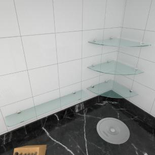kit com 4 Prateleira de vidro temperado para cozinha 3 de 30 cm para canto e 1 de 60 cm reta