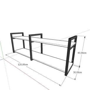 Aparador industrial aço cor preto mdf 30 cm cor amadeirado claro modelo ind04acapr