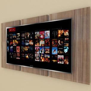 Painel Tv pequeno moderno amadeirado escuro com rustico
