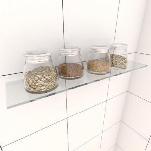 Kit com uma Prateleira para cozinha 40 cm vidro temperado