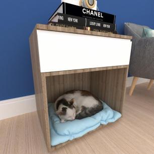 caminha criado gato gaveta mdf Amadeirado escuro branco