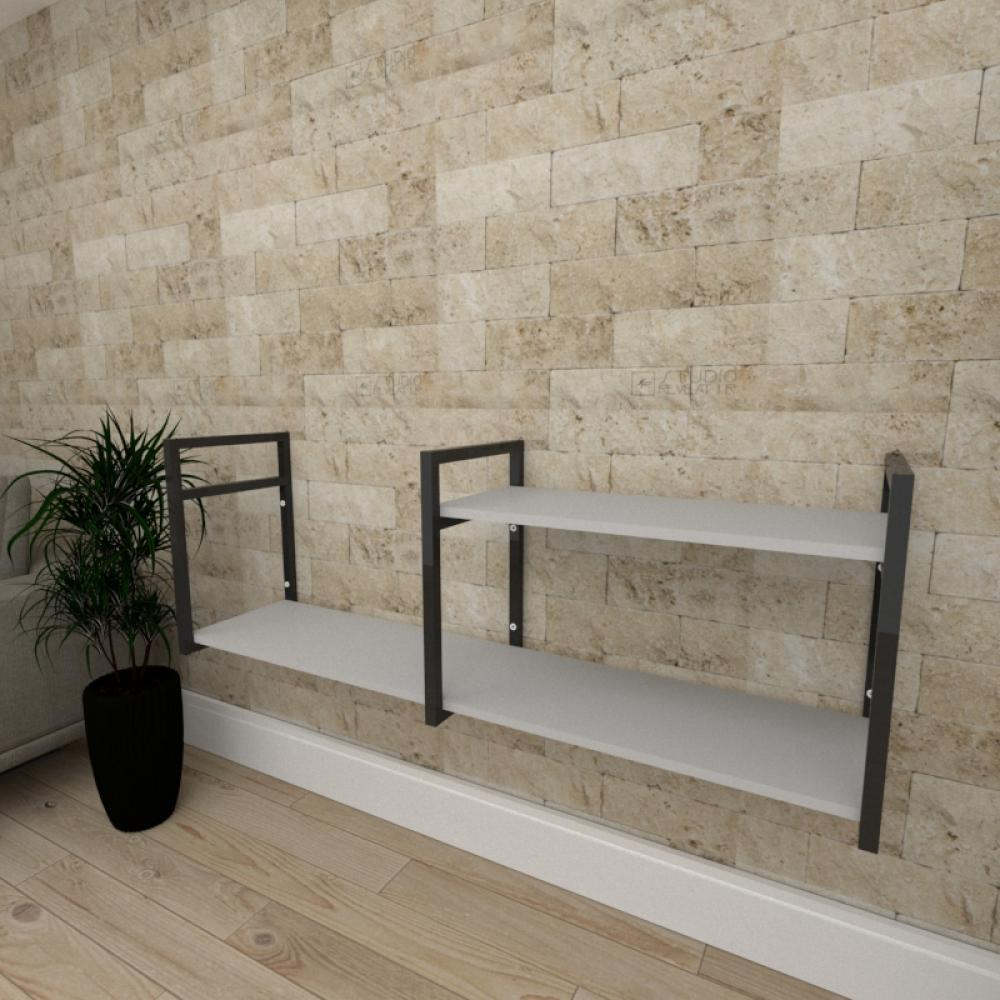 Mini estante industrial para sala aço cor preto prateleiras 30cm cor cinza modelo ind07ceps