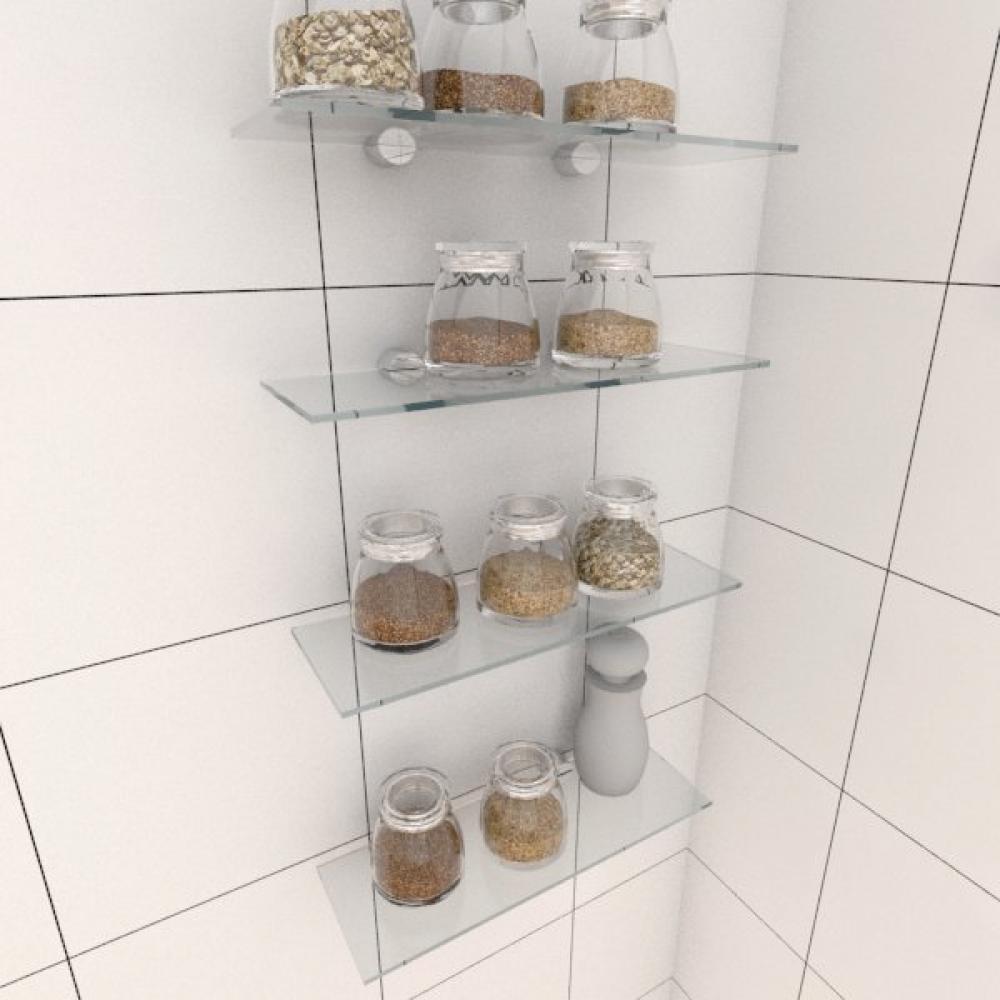Kit com quatro Prateleira para cozinha 30 cm vidro temperado