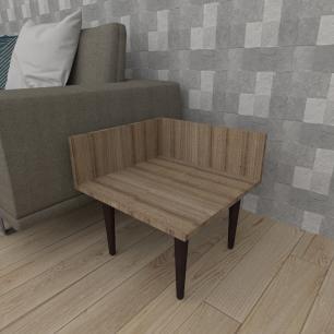 Mesa lateral simples em mdf amadeirado escuro com 4 pés retos em madeira maciça cor tabaco