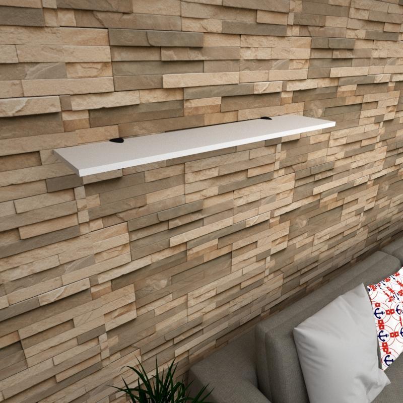 Prateleira para sala MDF suporte tucano cor branco 90(C)x20(P)cm modelo pratslb07