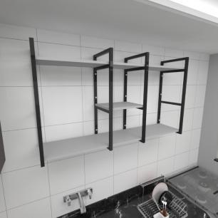 Prateleira industrial para cozinha aço cor preto prateleiras 30cm cor cinza modelo ind18cc