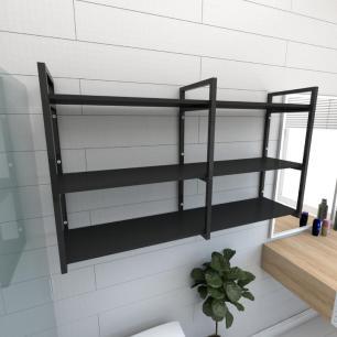 Prateleira industrial para banheiro aço cor preto prateleiras 30cm cor preto modelo ind11pb