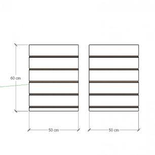 Kit 2 Painel canaletado para pilar amadeirado claro 2 peças 50(L)x60(A)cm