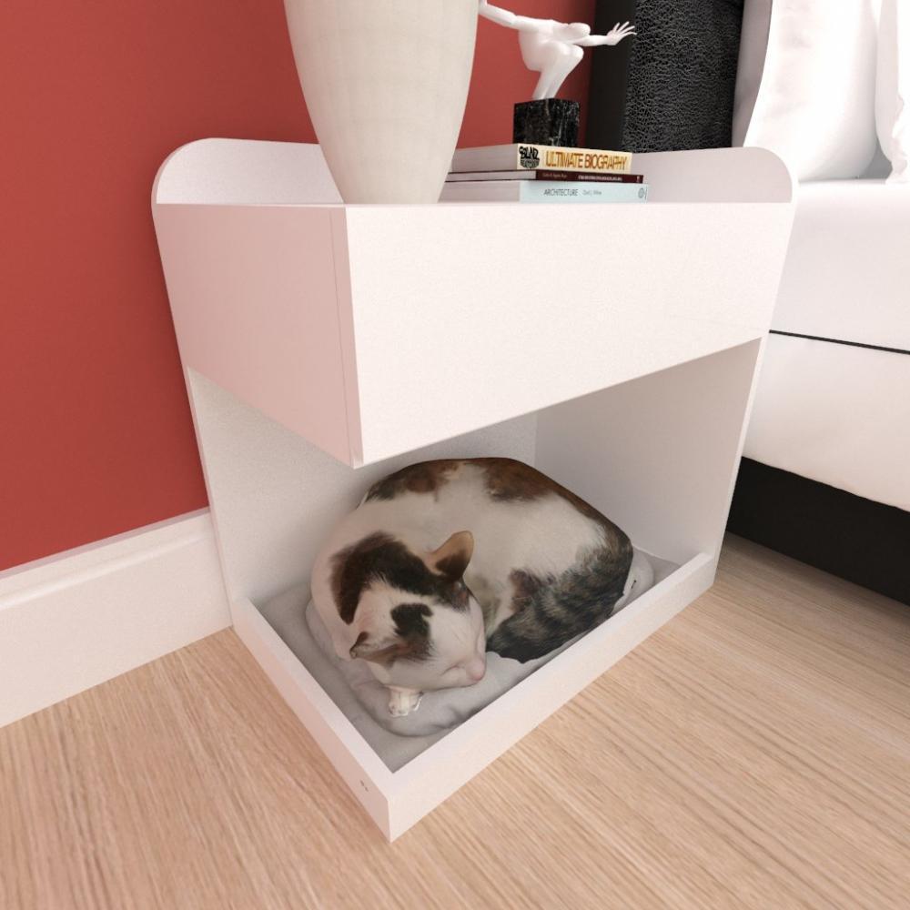 Casinha caminha criado mudo gato gaveta mdf cor Branco