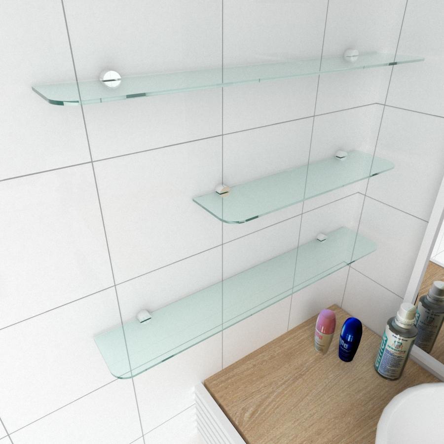 kit com 3 Prateleira de vidro temperado para banheiro 1 de 40(C)x8(P)cm 2 de 60(C)x8(P)cm