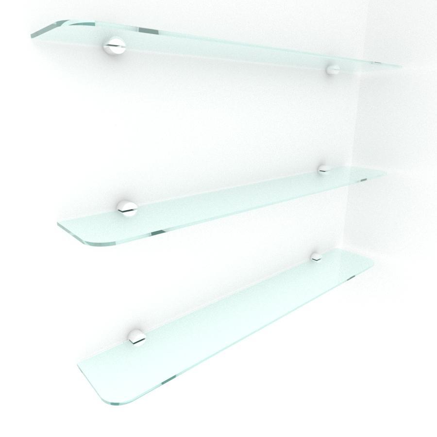 kit com 3 Prateleira de vidro temperado para escritorio 60(C)x8(P)cm