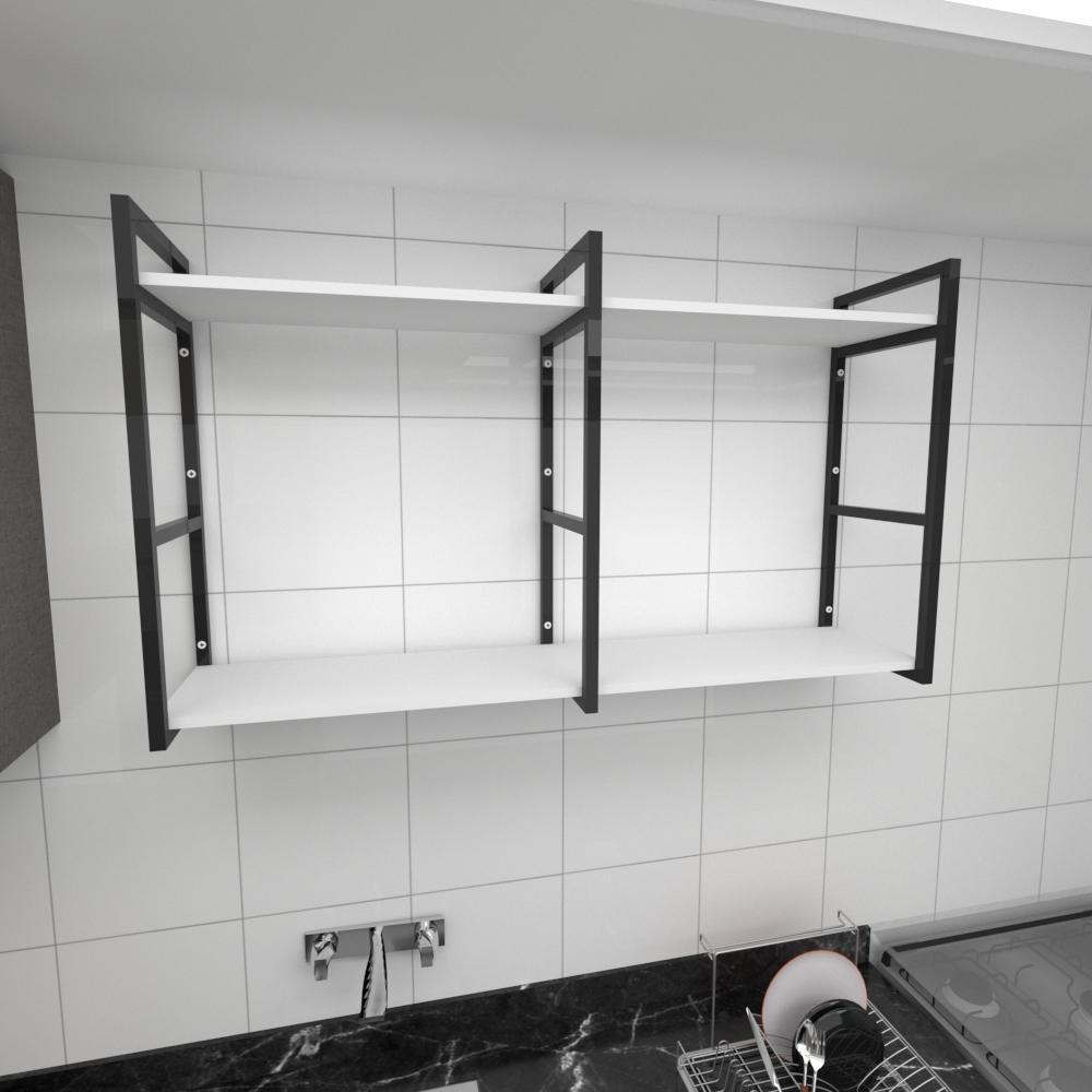 Prateleira industrial para cozinha aço cor preto prateleiras 30 cm cor branca modelo ind13bc