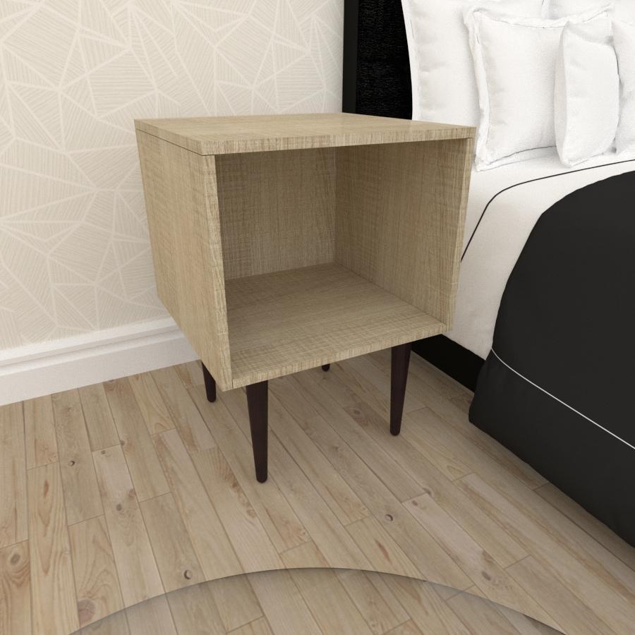 Mesa de Cabeceira moderna em mdf amadeirado claro com 4 pés retos em madeira maciça cor tabaco