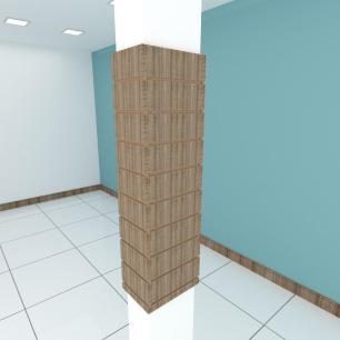 Kit 4 Painel canaletado para pilar amadeirado escuro 2 peças 24(L)x120(A)cm + 2 peças 30(L)x120(A)cm