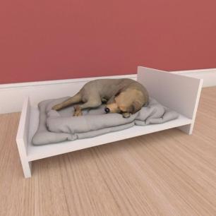 Mesa de cabeceira caminha minimalista pequeno cachorro em mdf branco